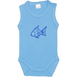 Azure sleeveless bodysuit with fish print