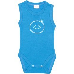 Turquoise sleeveless bodysuit with smiley print