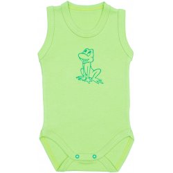 Lime green sleeveless bodysuit with frog print