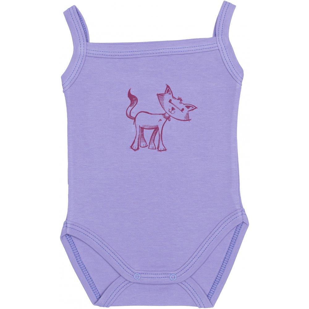 Body maiou bretele violet imprimeu pisicuță | liloo