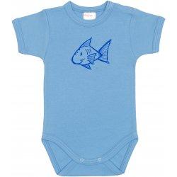 Azure short-sleeve bodysuit with fish print