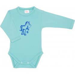 Aqua long-sleeve bodysuit with pony print