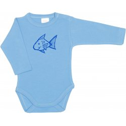 Azure long-sleeve bodysuit with fish print