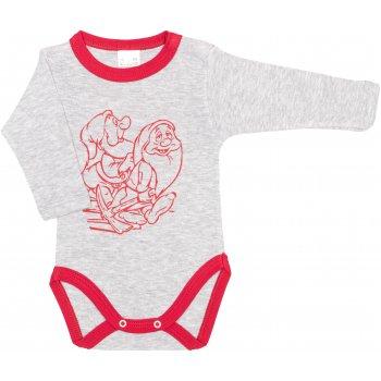 Body mânecă lungă gri & rosu imprimeu pitici
