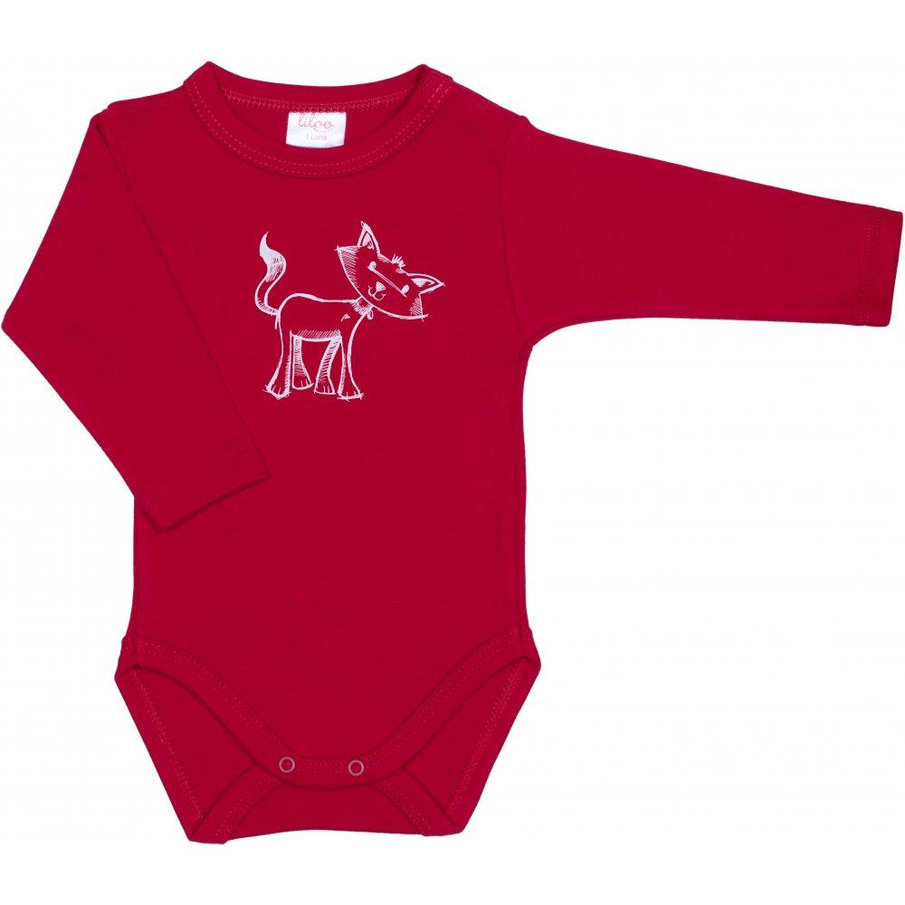 Body mânecă lungă roşu imprimeu pisică | liloo