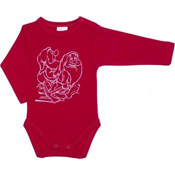 Body mânecă lungă roşu imprimeu pitici
