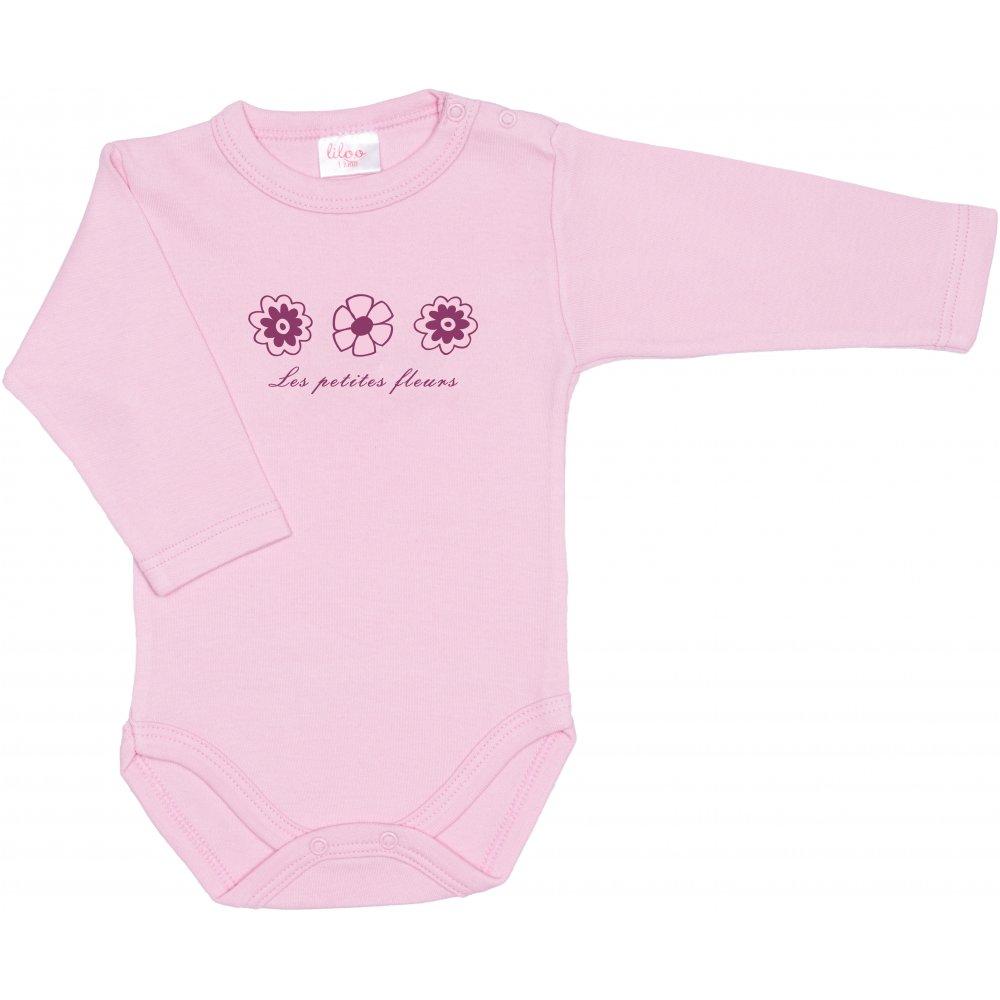 Body mânecă lungă roz imprimeu floricele | liloo