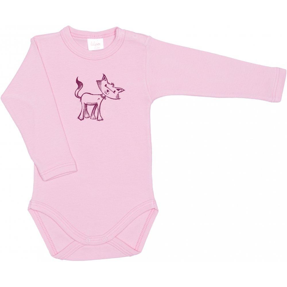 Body mânecă lungă roz imprimeu pisicuță | liloo