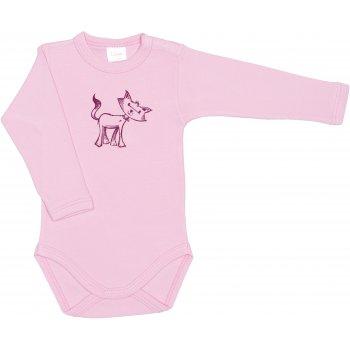 Body mânecă lungă roz imprimeu pisicuță