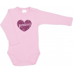 Pink long-sleeve bodysuit with princess print