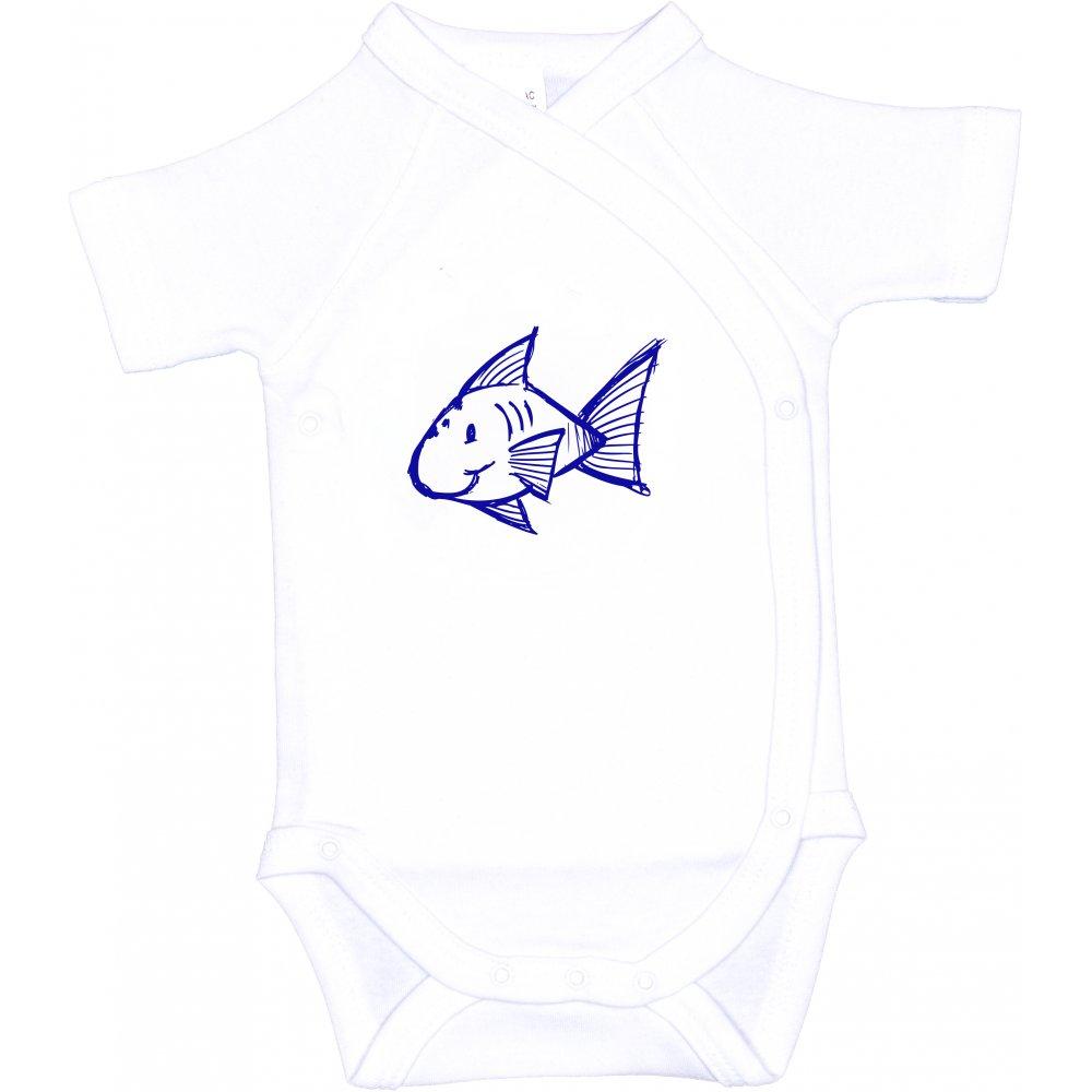 Body capse laterale mânecă scurtă alb imprimeu peștișor | liloo