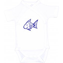 White side-snaps short-sleeve bodysuit with fish print