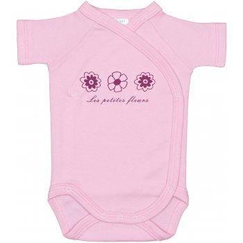 Body capse laterale mânecă scurtă roz imprimeu floricele | liloo