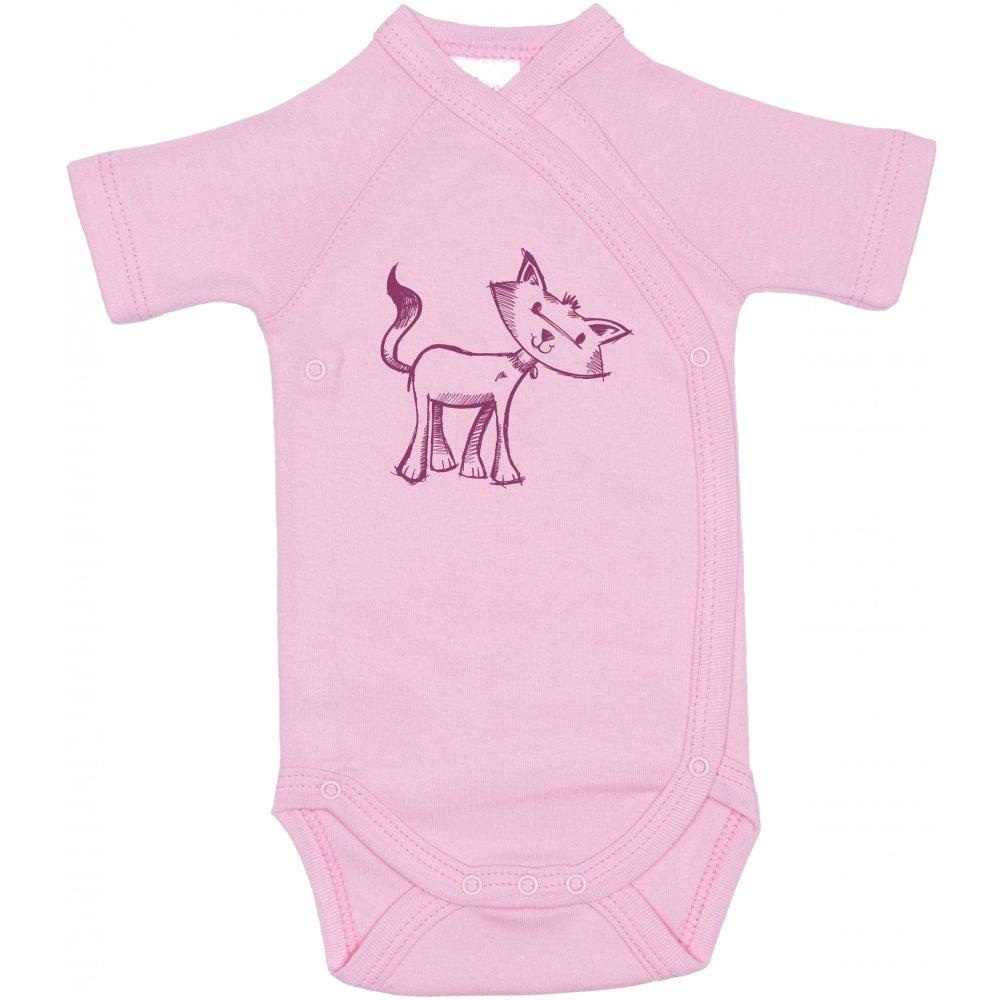 Body capse laterale mânecă scurtă roz imprimeu pisicuță | liloo
