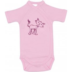 Pink side-snaps short-sleeve bodysuit with kitten print