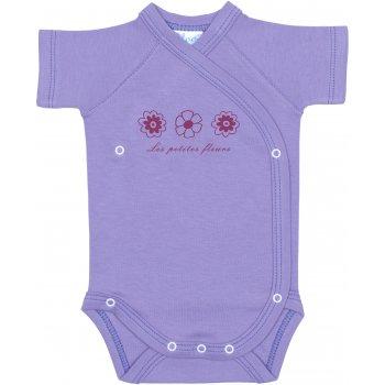 Body capse laterale mânecă scurtă violet imprimeu floricele