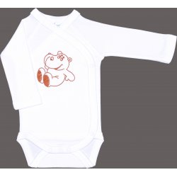White side-snaps long-sleeve bodysuit with hippopotamus print