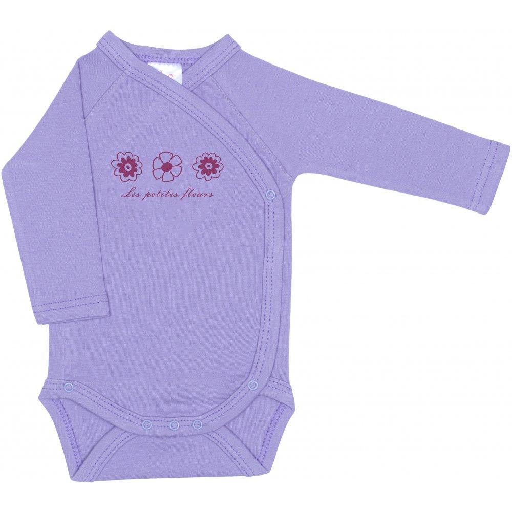 Body capse laterale mânecă lungă violet imprimeu floricele | liloo