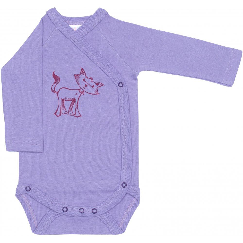 Body capse laterale mânecă lungă violet imprimeu pisicuță | liloo