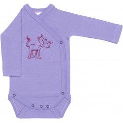 Body capse laterale mânecă lungă violet imprimeu pisicuță