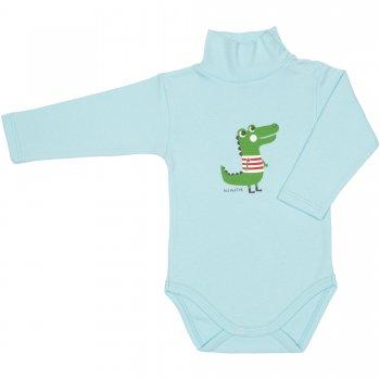 Body mânecă lungă tip helancă (maletă) azur deschis imprimeu colorat aligator