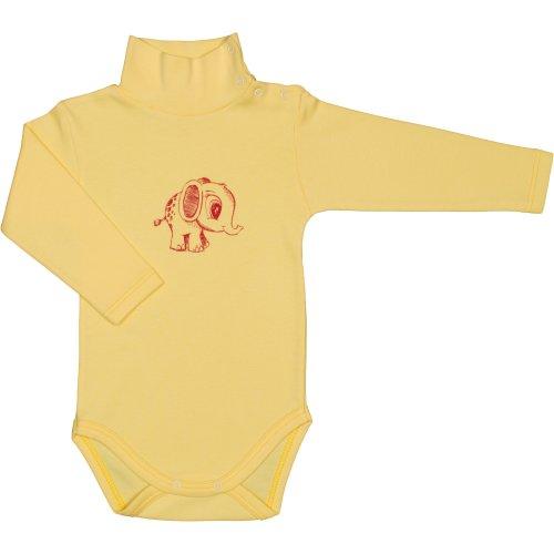 Body mânecă lungă tip helancă (maletă) galben imprimeu elefănțel