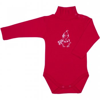 Body maneca lunga tip helanca (maleta) rosu imprimeu pinguin | liloo