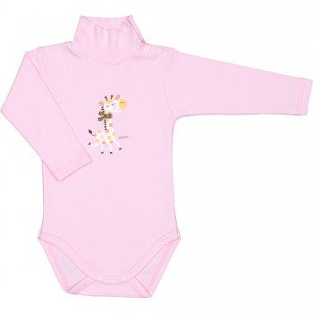 Body maneca lunga tip helanca (maleta) roz imprimeu colorat girafa | liloo