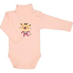 Body mânecă lungă tip helancă (maletă) somon imprimeu colorat pisicuță șmecheră
