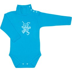 Turquoise turtleneck bodysuit with robot print