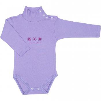 Body maneca lunga tip helanca (maleta) violet imprimeu floricele | liloo