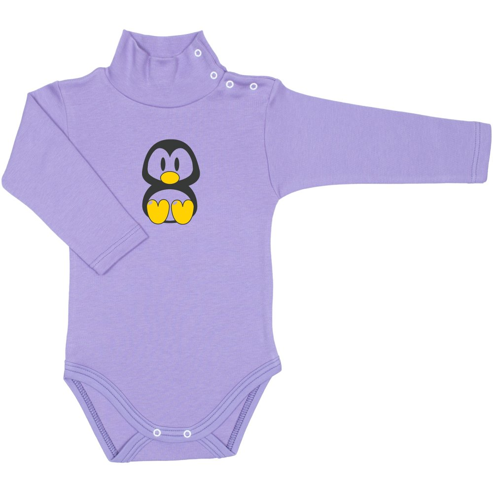 Body maneca lunga tip helanca (maleta) violet imprimeu pinguin Tux | liloo