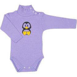 Body mânecă lungă tip helancă (maletă) violet imprimeu colorat pinguinul Tux