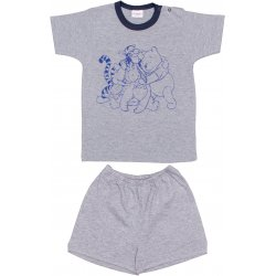 Grey short-sleeve thin PJs with animals print