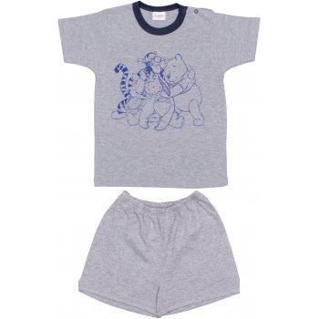 Pijamale vară cu mânecă scurtă și pantaloni scurți gri imprimeu animăluțe