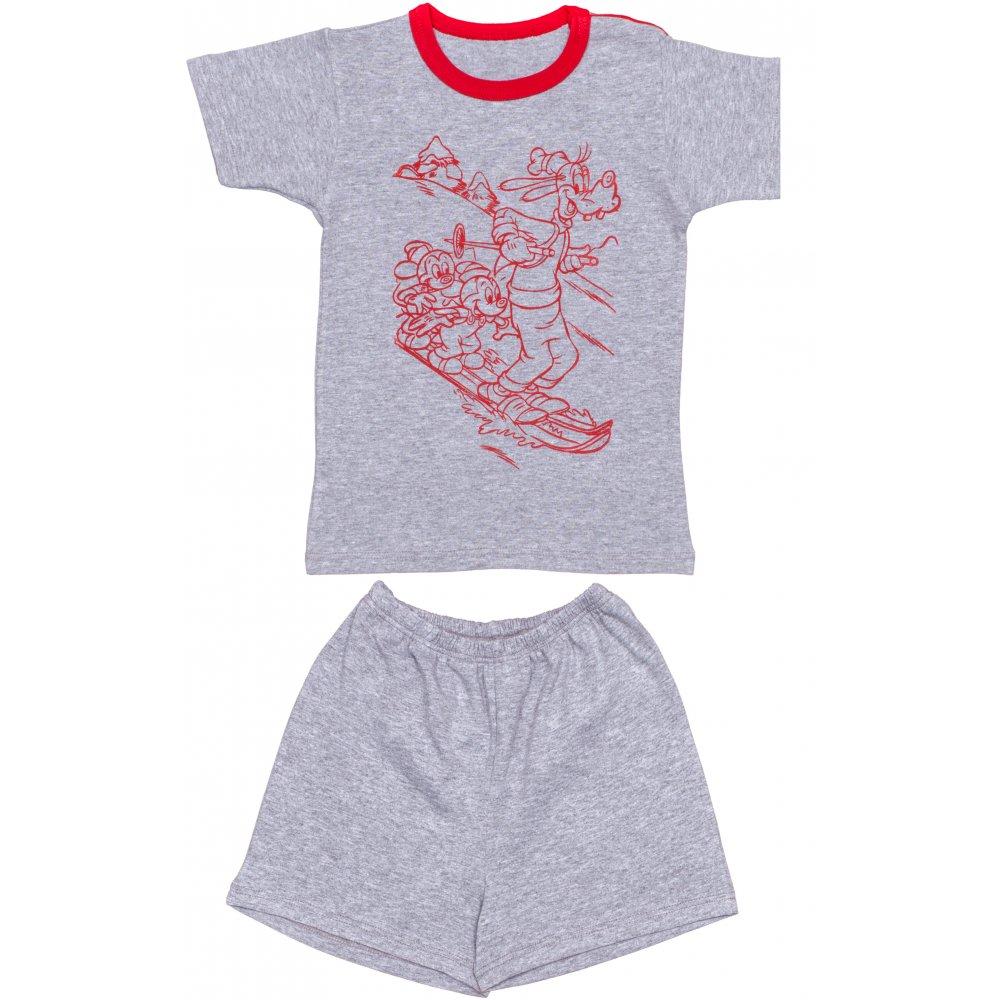 Pijamale vară cu mânecă scurtă și pantaloni scurți gri imprimeu șoricei | liloo