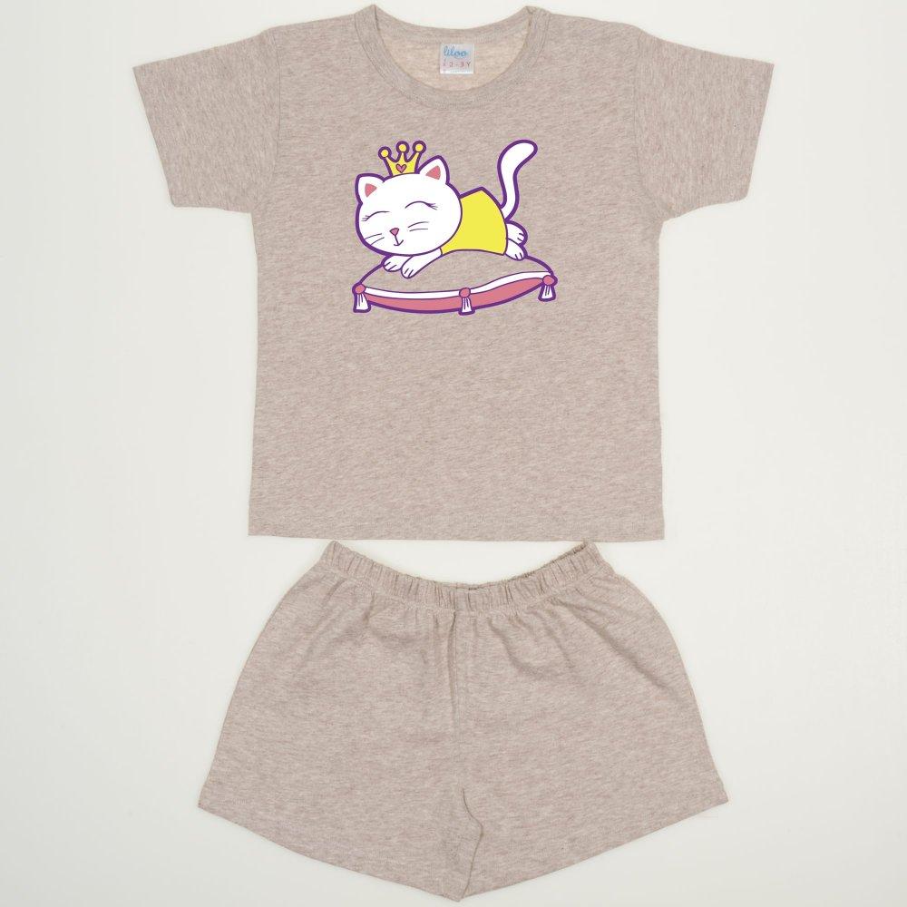 Pijamale vara bej melange imprimeu pisicuta | liloo