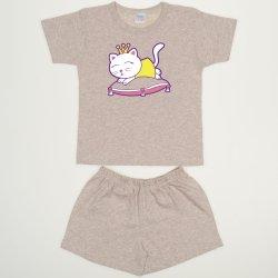 Pijamale vara bej melange imprimeu pisicuta