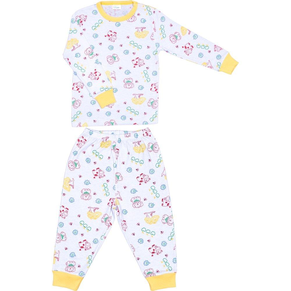 Pijamale primăvară-toamnă imprimeu model animăluțe și fructe | liloo