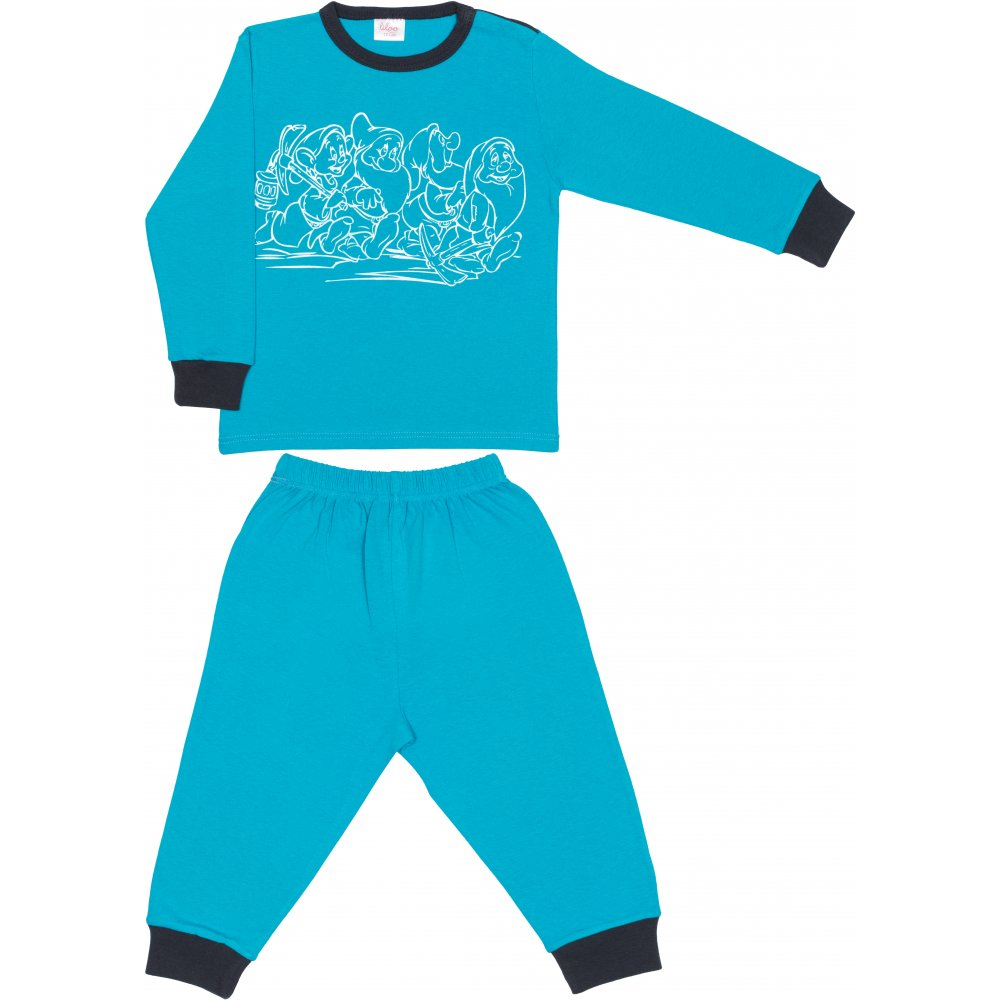 Pijamale primăvară-toamnă turcoaz imprimeu pitici | liloo