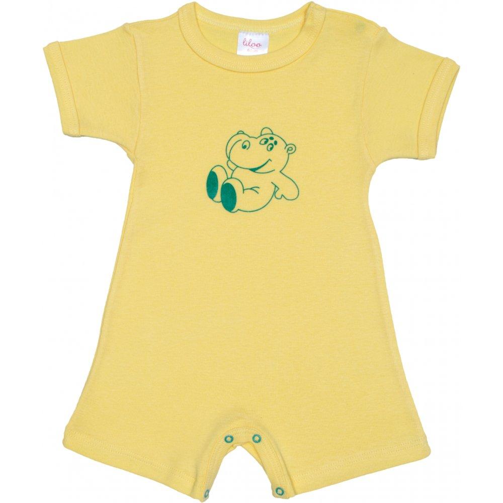 Salopetă mânecă scurtă și pantaloni scurți galbenă imprimeu hipopotam | liloo