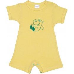 Salopetă mânecă scurtă și pantaloni scurți galbenă imprimeu hipopotam