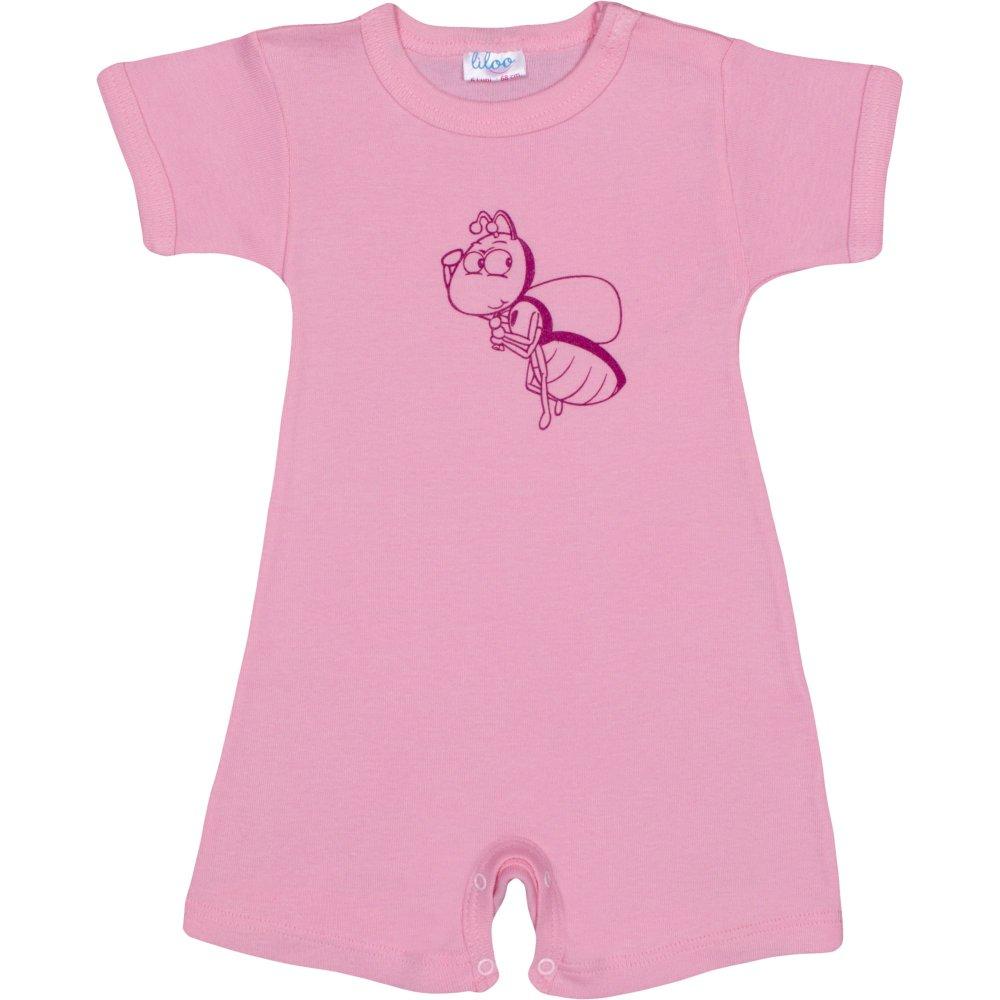 Salopetă mânecă scurtă și pantaloni scurți roz imprimeu albinuță | liloo