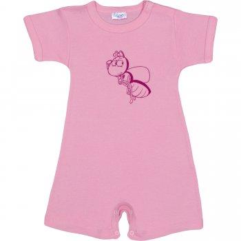 Salopetă mânecă scurtă și pantaloni scurți roz imprimeu albinuță