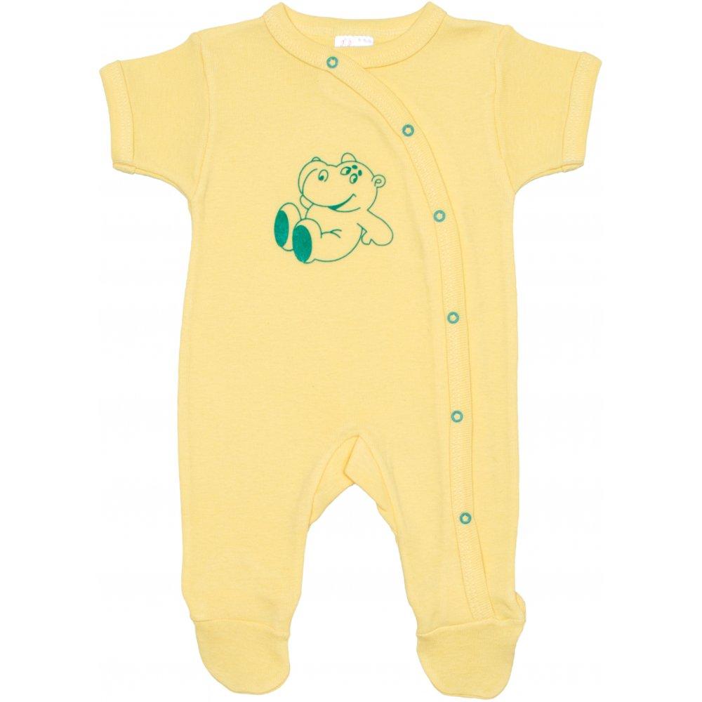 Salopetă mânecă scurtă și pantaloni cu botoșei galbenă imprimeu hipopotam | liloo
