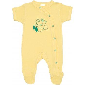 Salopetă mânecă scurtă și pantaloni cu botoșei galbenă imprimeu hipopotam
