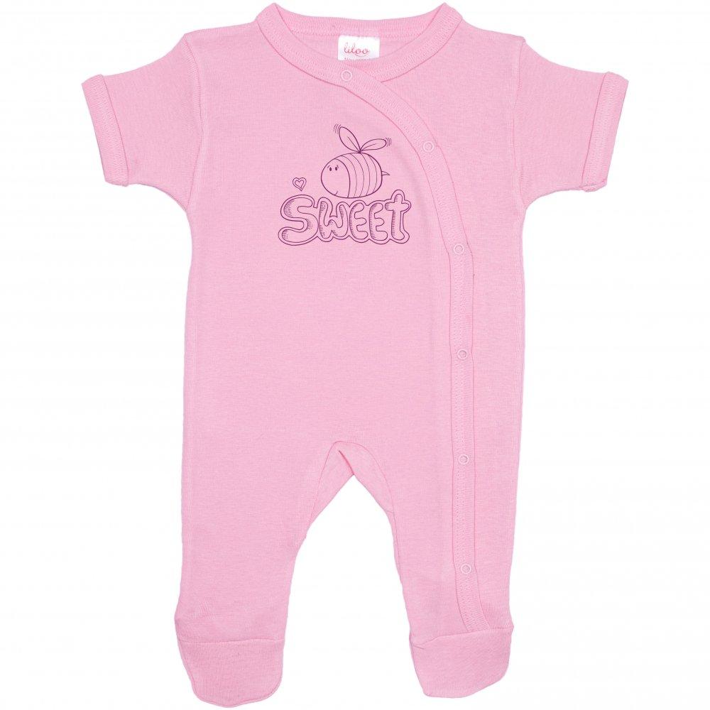 Salopetă mânecă scurtă și pantaloni cu botoșei roz imprimeu albinuță sweet | liloo