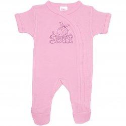 Salopetă mânecă scurtă și pantaloni cu botoșei roz imprimeu albinuță sweet