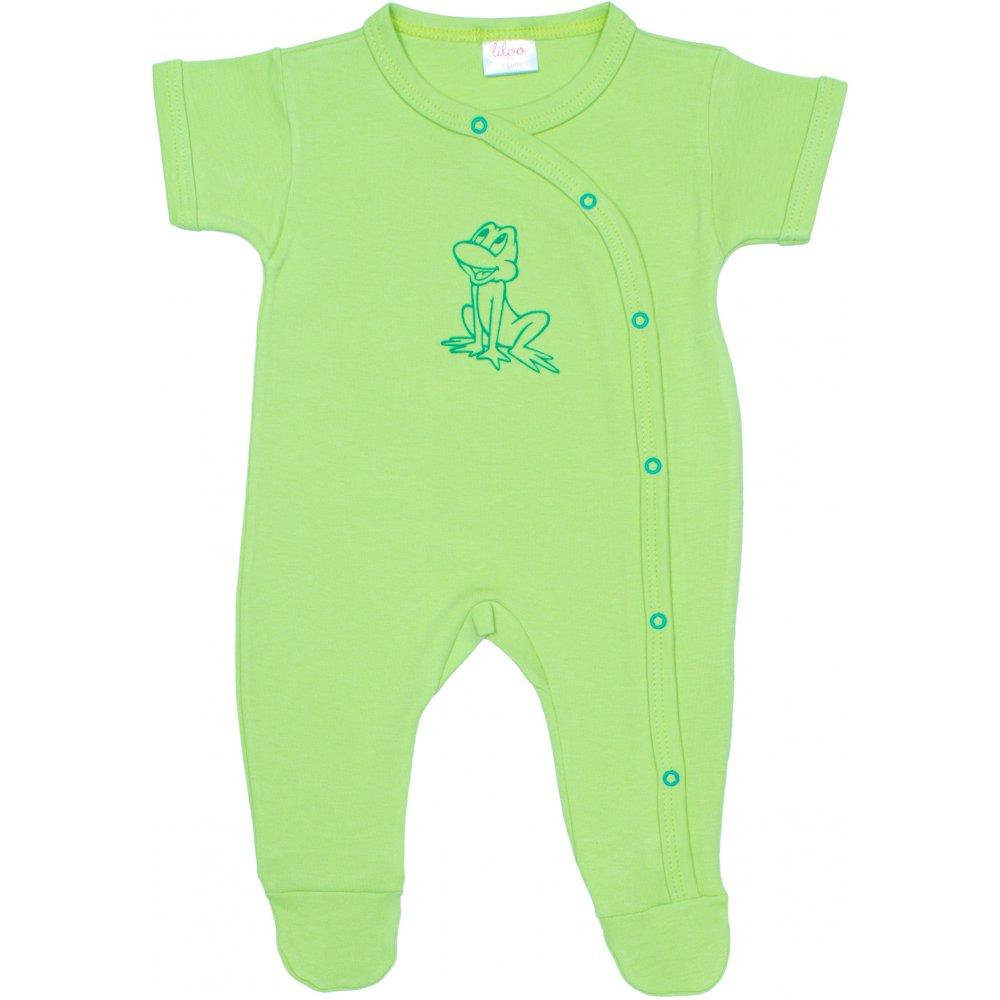 Salopetă mânecă scurtă și pantaloni cu botoșei verde lime imprimeu broscuță | liloo