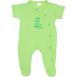 Lime green short-sleeve sleep & play with footies with frog print